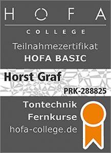 Hofa Zertifikat für Horst Graf